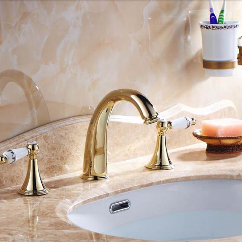 Wholesale And Retail Golden Brass Bathroom Faucet Widespread Vanity Sink Mixer Tap Ceramic Handles Deck Mounted 8 Sink free shipping wholesale and retail golden big c shape widespread deck mounted waterfall bathroom basin sink faucet