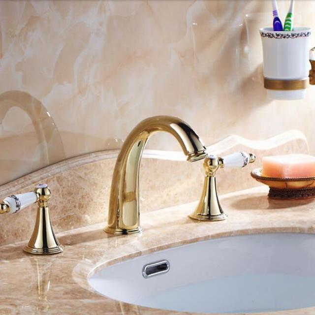 Wholesale And Retail Golden Brass Bathroom Faucet Widespread Vanity ...