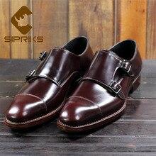Sipriks/мужские винтажные модельные туфли из телячьей кожи; итальянская прошитая обувь на заказ; деловые туфли с двумя ремешками