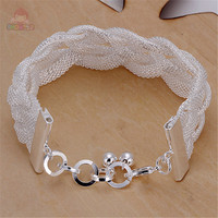 New Fashion White Special Design Mesh Woven Bracelets Silver Plated Romantic Trendy Style Charming Valentine Gifts