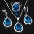 Azul Gota de água Cubic Zirconia Mulheres 925 Conjuntos de Jóias de Prata Esterlina Brincos/Pingente/Colar/Anéis Frete Grátis JS0453