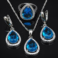 Water Drop Blue Cubic Zirconia Women 925 Sterling Silver Jewelry Sets Earrings/Pendant/Necklace/Rings Free Shipping  JS0453