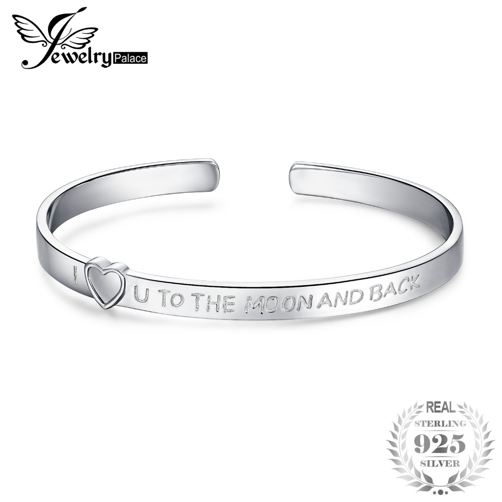 JewerlyPalace I Love You To The Moon And Back 925 Sterling Silver Cuff Bangle Bracelet 2018 New Hot Sale For Women Fine Jewelry delicate turquoise moon cuff bracelet for women