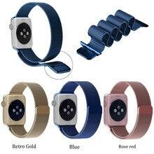 2016 nova moda retro ouro milanese laço cinta com fechadura magnética para apple watch band 38mm42mm + conector preto prata 8 cor