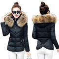 ALMUERK 2018 Winter Women Coat Fur Hoody Collar Cotton Jacket Patchwork Style Bow Design Slim Waist Plus Size Casual Wadded
