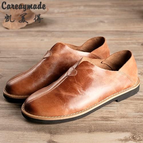 Careaymade/обувь с закрытым носком в стиле ретро, обувь из натуральной кожи, обувь ручной работы, женская обувь для отдыха с мягкой подошвой, обув...