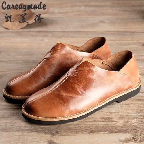 Careaymade-Rétro peu profonde bouche chaussures Top couche Véritable chaussures en cuir pur à la main femelle loisirs fond mou paresseux pédale chaussures
