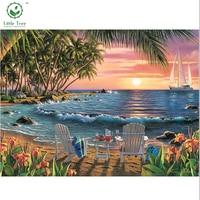 Full Drill Diamond Painting Mosaic Embroidery The Seaside Scenery Beach Chair Rhinestones Patchwork Cross Stitch Beads