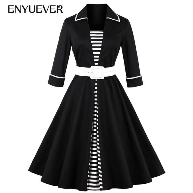 Enyuever Autumn Rockabilly Dress Patchwork Black White Striped Sleeve  Elegant Robe 1950s Vintage Dress Plus Size Women Clothing ce7d7e6b3bb1