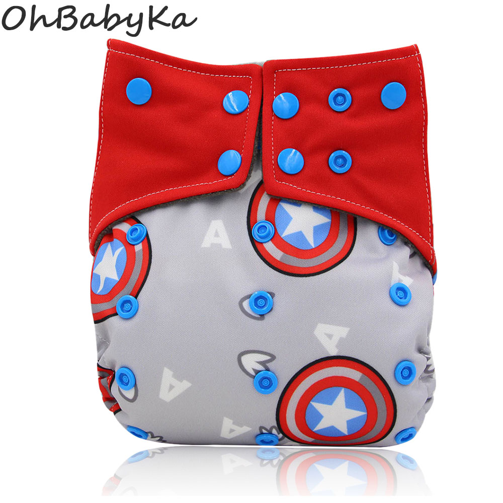Ohbabyka Double Gussets Diapers Baby Nappies All-in-two AI2 Cloth Diaper Reusable Newborn Diapers Bamboo Charcoal Pocket Diaper