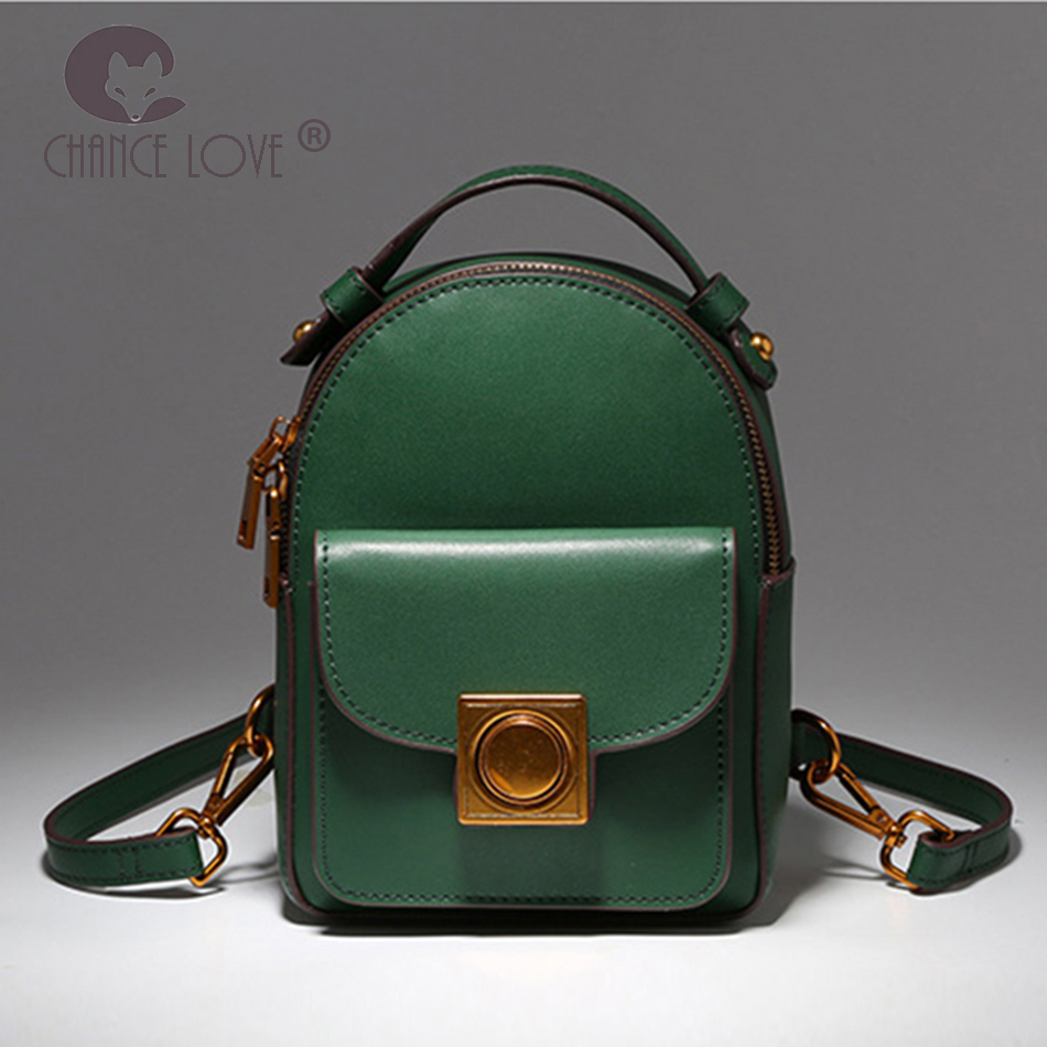 Chance Love new female backpack Genuine leather shoulder bag female leisure college style simple multi-function backpack female aliwilliam 2017 new backpack female wild retro embroidery tide ladies backpack multi functional package college style female bag