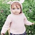 017 Nueva Primavera Otoño Niños de Algodón Estilo Largo Del Oído de Conejo Suéteres con capucha Para Niños Niñas Ropa de Bebé Otoño Suéter de Punto Cardigan