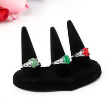 1Pc High Quality Showcase Jewelry Holder Black Velvet Three-Finger Tip Mountain Necklace Ring Display Fashion Organizer Holder