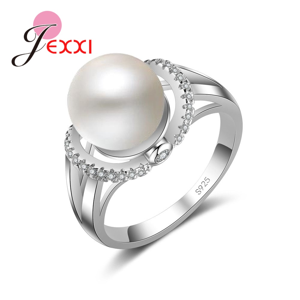 European  American Explosions Round Large Pearl 925 Sterling Silver Small Crystal Jewelry Party Wedding Ring