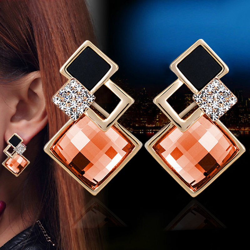 New Big Brand Fashion Woman Fine Jewelry Earrings Geometric Multiple section Square Crystal Gem Stud Earrings For Girls brincos