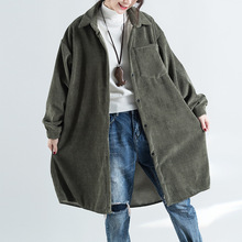 Long Coats Johnature Turn-Down-Collar Thicken Winter Corduroy Single-Breasted New Warm