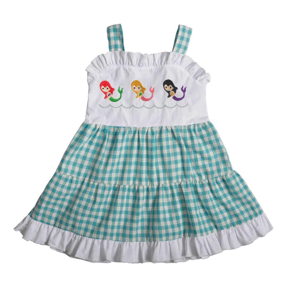 Toptan Yaz Çocuklar Butik Pamuk Giyim Nakış Mermaid Kız Kıyafetler Dokuma Ekose Elbise 2GK903-1156-HY