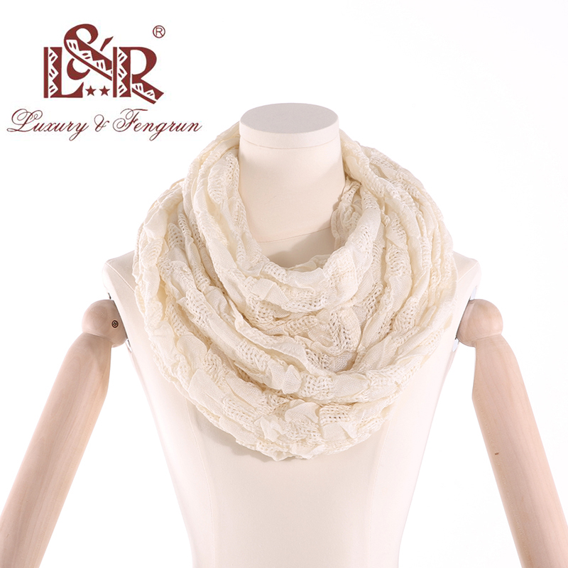 2019 Winter Ring Loop Scarf Knitted Soft Wool Collar Solid Color Neck Warmer Shawl Wraps Warmer  Women Scarves Female