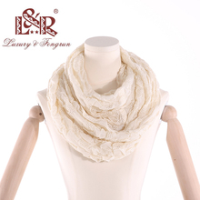 купить 2019 Winter Ring Loop Scarf Knitted Soft Wool Collar Solid Color Neck Warmer Shawl Wraps Warmer  Women Scarves Female дешево