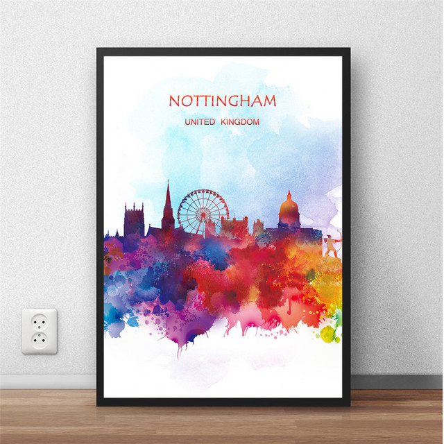 Modern abstract watercolor city nottingham uk popular print painting poster wall picture living room home decor