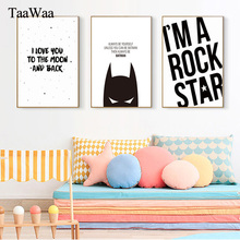 TAAWAA Black and White Batman Poster Quote Nordic Canvas Print  Minimalist Art Painting Wall Picture for Boy Kid Room Decoration