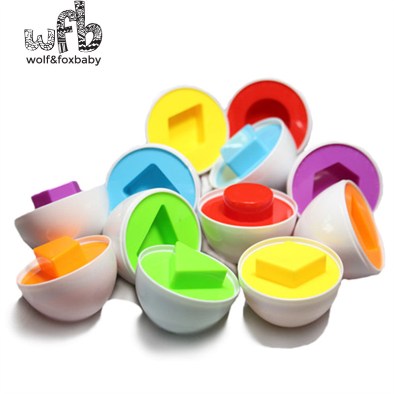Retail 6pcs/pack Baby infant Educational Toys Paired Twisted egg identify color & shape insert intelligence Construction Blocks