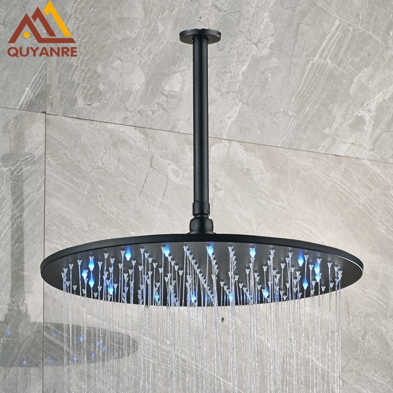 Luxury 16 Inch Round Rainfall Shower Head Brass Blackened Finish LED Shower Head with Ceiling Arm 6 inch round brass shower head