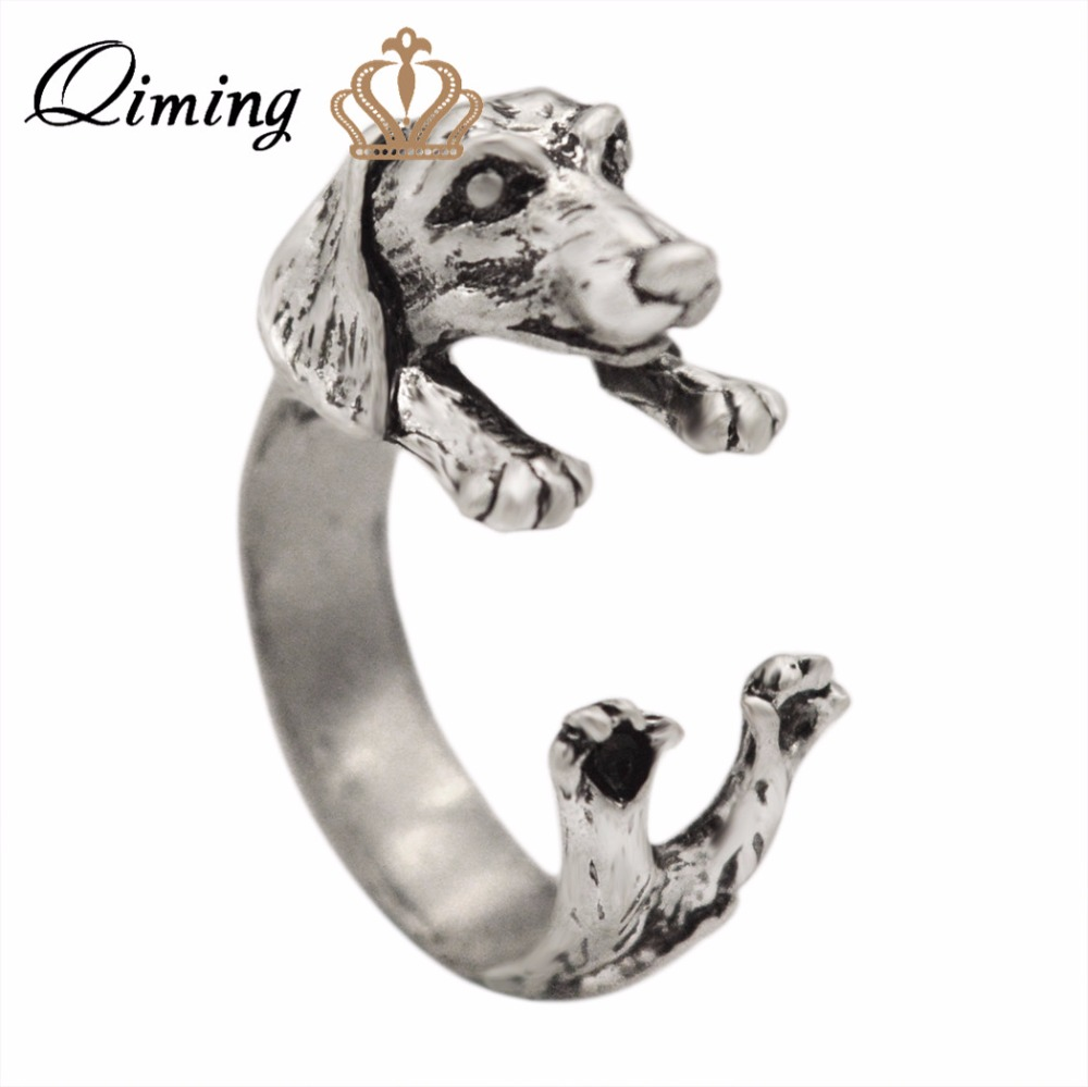 2016 New Fashion Open Adjustable Dog Ring Realistic Dachshund Dog Puppy Animal Rings For Women Girl Gift Men Jewelry