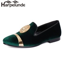Harpelunde Slip On Dress Wedding Shoes Green Velvet Loafers Men Flats Size 6-14