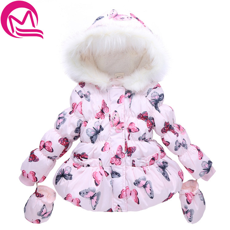 MQ 2017 Fashion Girls Winter Coat + <font><b>Gloves</b></font> 2pcs Set Butterfly Hooded Zipper Fleece Pink Children