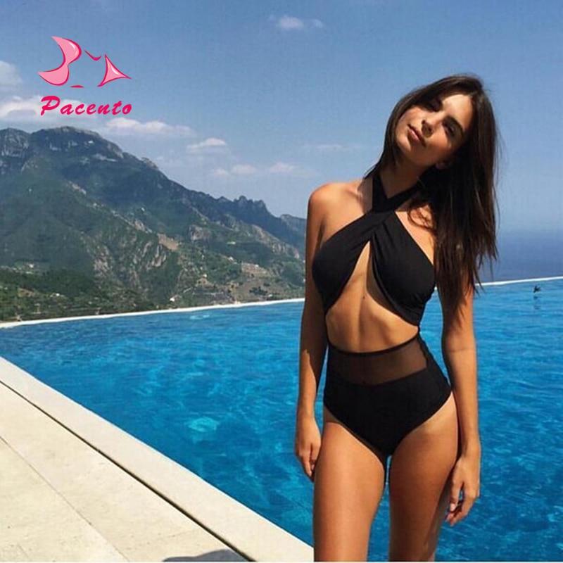 Pacento Bikinis Set High Waist Bikini 2018 Sexy Two Piece Swimsuits Black Mesh Swimwear Female Swiming Suits for Women Plavky
