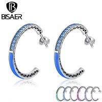 BISAER 925 Sterling Silver Radiant Hearts 7 Color Enamel Clear Hoop Earrings For Women Sterling Silver