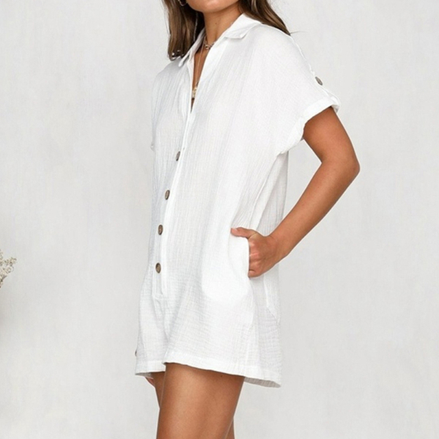 Button Front Shirt Romper