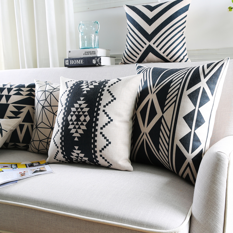 Nordic Style Cushion Cover Home Decor Geometric Throw Pillows Cases Black and white Decorative ...
