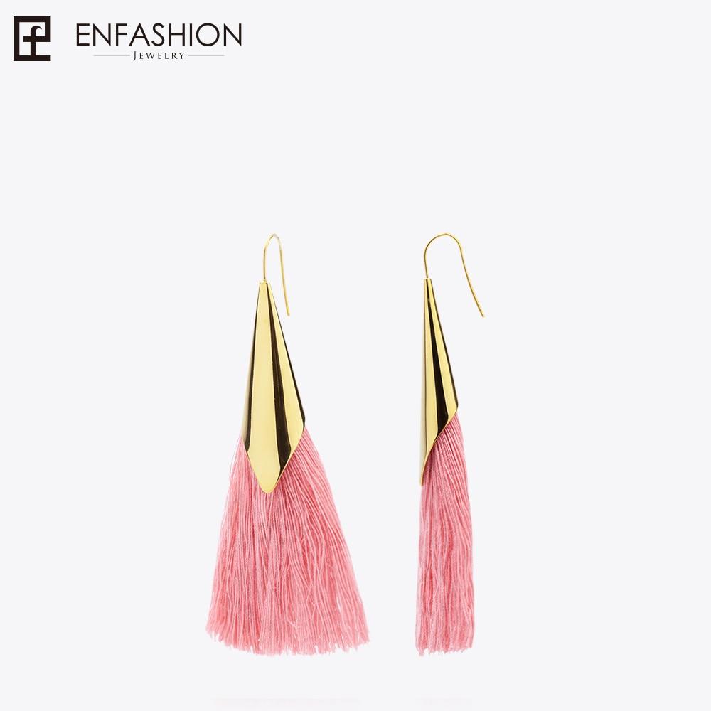 Enfashion Tassels Dangle Earrings Stainless steel Colorful fringe Long Drop Earrings For Women Trendy Earrings Jewelry EEF1013 faux diamond metal fringe statement drop earrings