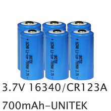 6pcs UNITEK 3.7v 16340 rechargeable battery real 700mah CR123A CR 123A li-ion lithium ion cell for laser flashlight torch