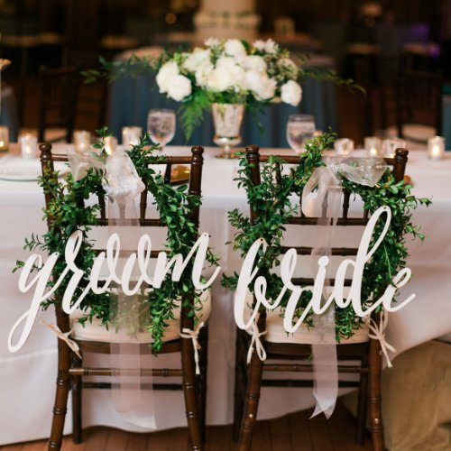 Acrylic white letters chair back signs bride groom calligraphy acrylic white letters chair back signs bride groom calligraphy wedding chair decoration with free shipping 2pcslot in party diy decorations from home junglespirit