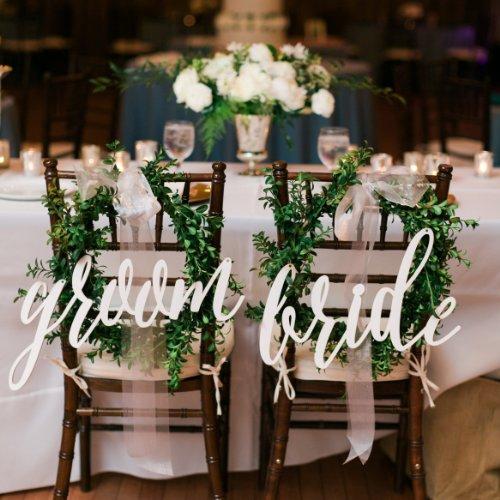 Sinais de Acrílico Cadeira para Trás-cadeira do Casamento do Noivo da Noiva-caligrafia Decoração com Frete Letras Brancas Grátis – Lote 2 Pçs