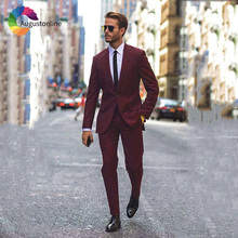 High Street Burgundy Business Men Suits Wedding Groom Tuxedo 2 Pieces Jacket Pants Slim Fit Best Man Blazer Ternos