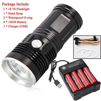 Φακός Υψηλής Φωτεινότητας LED Αδιάβροχος Με Μπαταρία 4 x 18650 + φόρτιση A1 Σπίτι - Γραφείο - Επαγγελματικά Φακοί MSOW