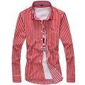 2016 осень мужская с длинными рукавами рубашки марка свежий дикий Тонкий случайных мужской моды личности полосатой рубашке XL рубашки прилив
