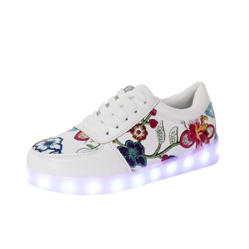 KRIATIV 2018 FASHION Flower luminous sneakers light up shoes for girls shoes glowing sneakers illuminated krasovki led slippers