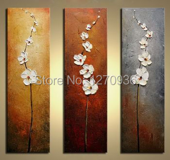 Modern Canvas Art Wall Decor Flowers 100% Handmade Oil Painting On Canvas for Living Room Decoration Knife White Flower Pianting