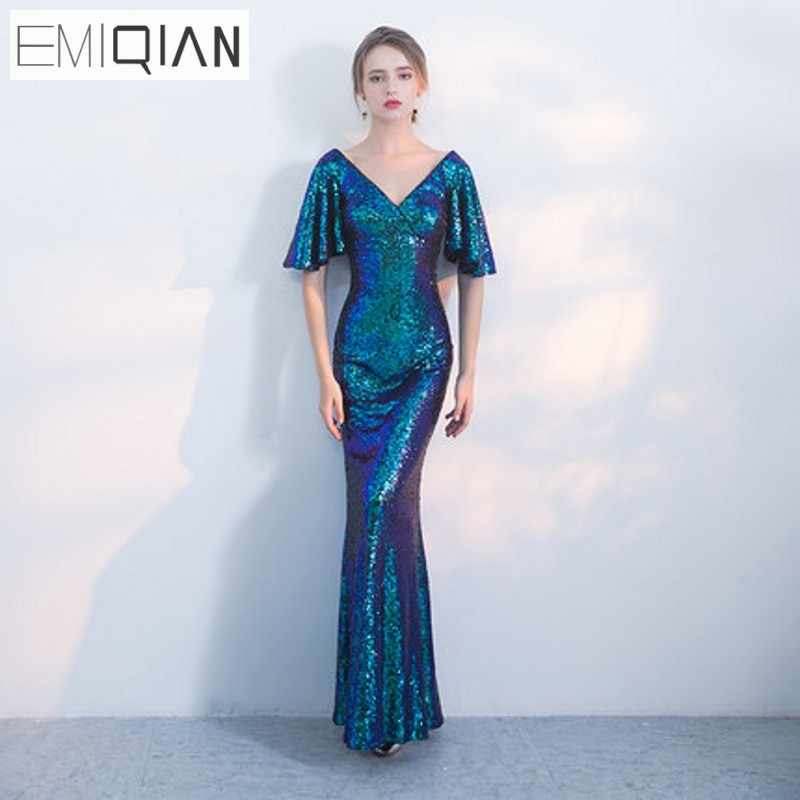 1c7c98fc46 NEW Designer Blue Sequin Formal Prom Party Dress Mermaid Long Evening  Dresses Cheap