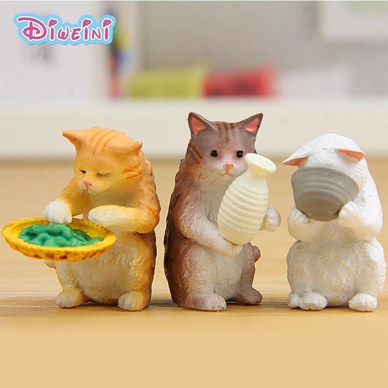Lifestyle Cats Figures Cartoon Kitten Animal Model Miniature Figurine Girl Boy Toys Baby Pet Toy Home Decoration Resin Craft