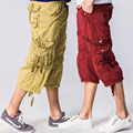 2017 Summer Fashion Casual Cotton Loose Male Capri Pants Men Multi Pocket Cargo Shorts Long Baggy 3/4 Pant Khaki Red