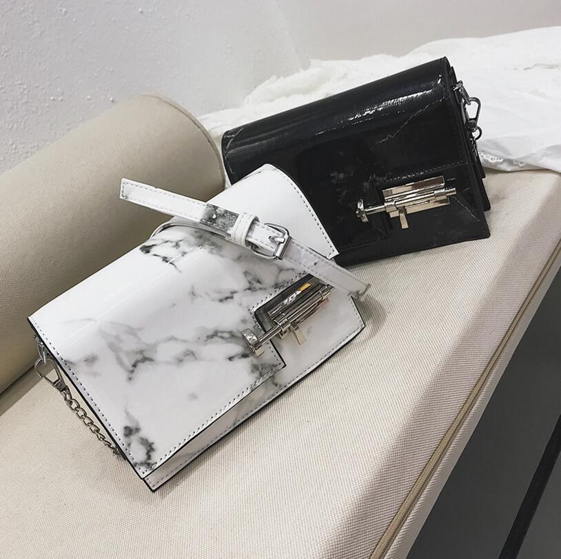 Patent Leather Lock Marble Pattern Chain Lady Flap Bag Women Shoulder Bag #2526 Fashion Woman Crossbody Bag Female Gift