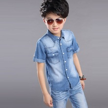 2016 summer boy's clothing set denim jacket and short jeans denim shirts and trousers children's set boy's summer clothing16326