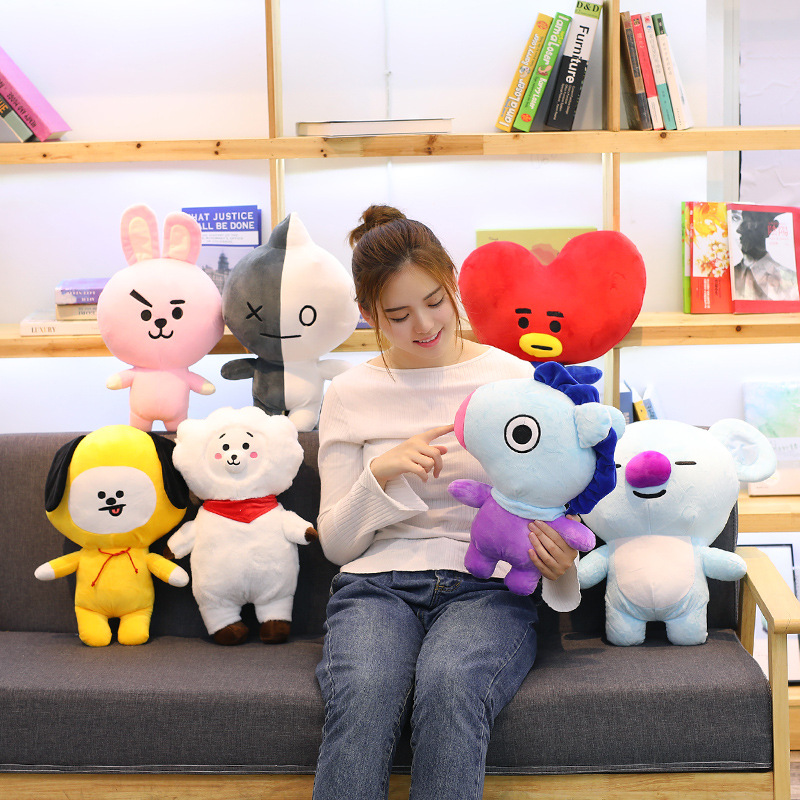 Miaoowa 1pc 25cm Bangtan Boys BTS bt21 Kawaii Pillow Plush Toy TATA VAN COOKY CHIMMY SHOOKY KOYA RJ MANG Gift DFor Children 20cm kpop bangtan boys bts bt21 plush toys doll tata van cooky chimmy shooky koya mang plush stuffed toys for children kids gift