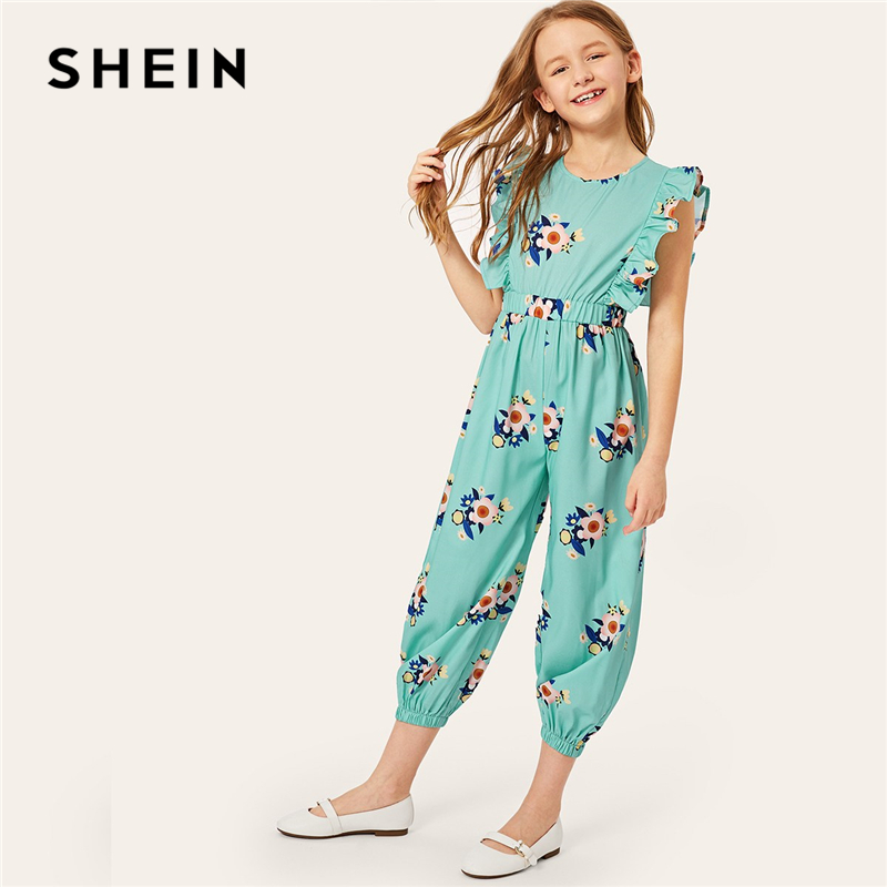 SHEIN Kiddie Turquoise Floral Print Ruffle Trim Girls Jumpsuit 2019 Summer Sleeveless Vacation Casual High Waist Kids Jumpsuits shein kiddie grey solid caged neck marled knitted skinny casual jumpsuit girls 2019 spring sleeveless criss cross kids jumpsuits